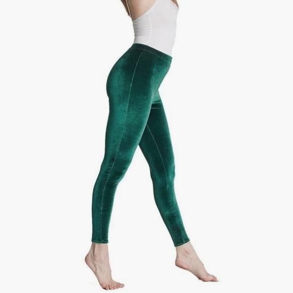 238fd5f1ae2c7 American Apparel Pants | Green Velvet Leggings | Poshmark
